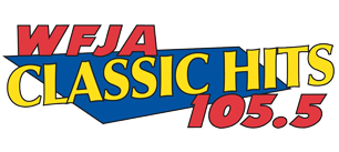 "WFJA Classic Hits 105.5 | Sanford, NC. Wording ""WFJA is in red to the top left. ""Classic Hits"" is in yellow and centered. ""105.5"" is also in red, but at the bottom right. Backed by a blue trapezoid-like shape."