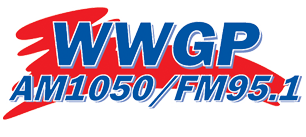 "WWGP AM 1050 | FM 95.1 | Today's Best Country. The wording ""WWGP AM1050/FM95.1"" is in blue, backed by a splash of red."