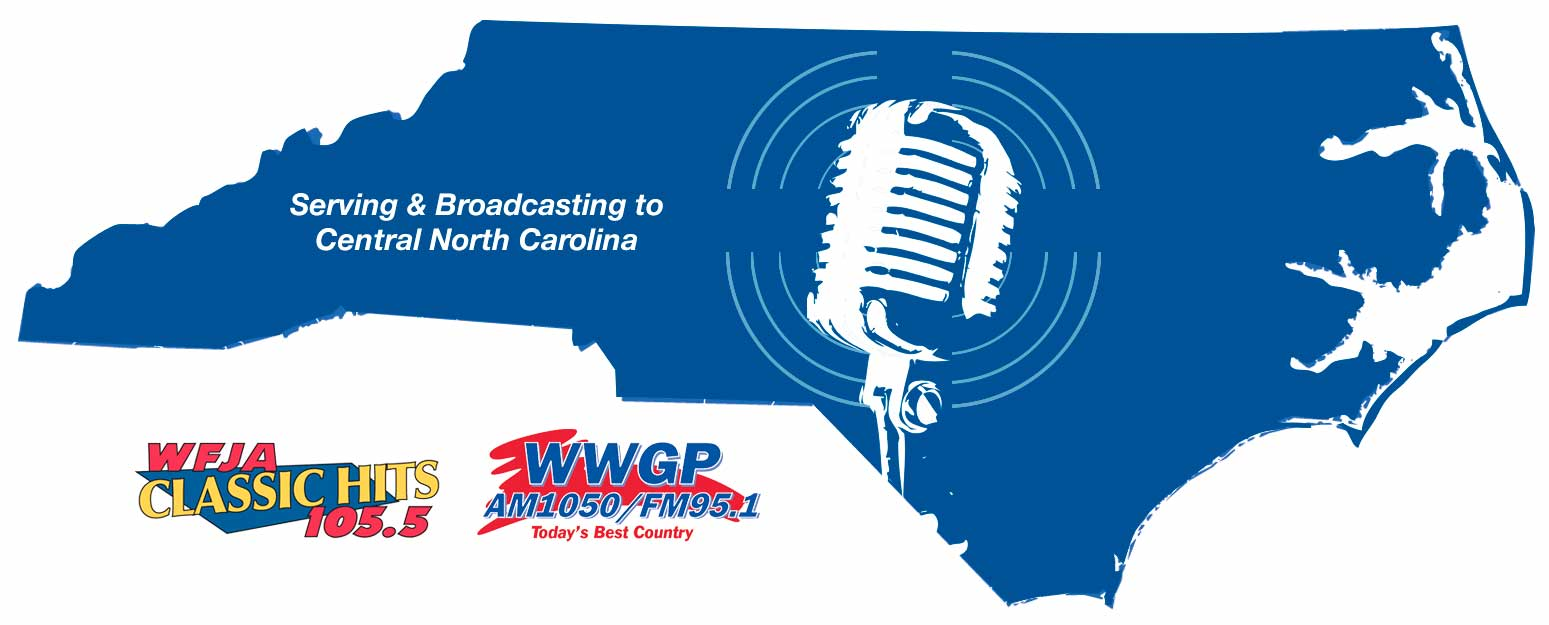 WFJA WWGP Listening Area Map. Features a silhouette of the shape of North Carolina. The image of a microphone sits in the center of the state. Also displays the logos of WFJA and WWGP.