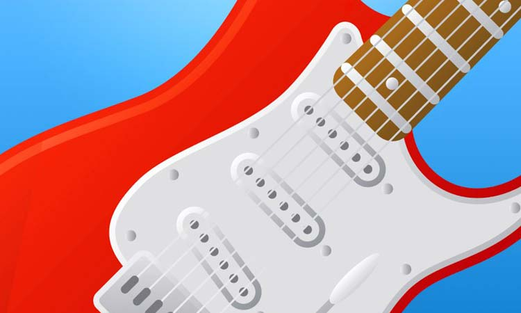 Red and white electric guitar against a blue background.