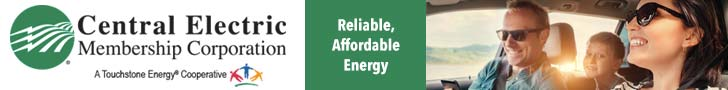 Banner ad for Central Electric Membership Corporation. Offering reliable, affordable energy. Features an image of a happy family.
