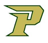 Logo for Pinecrest High School in Southern Pines, NC. Features a yellow-green capital P.