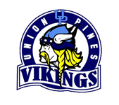 Logo for Union Pines High School in Cameron, NC. Features a blond viking.