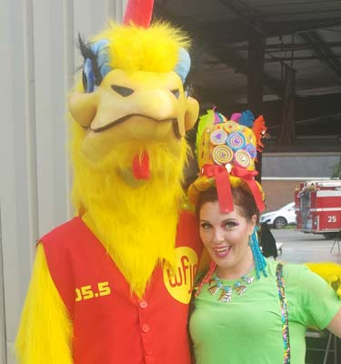 WFJA Chicken. A six foot tall yellow chicken mascot dressed in a red vest.