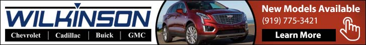 Banner ad for Wilkinson Cadillac in Sanford NC. Features a mid-size SUV. Call them at (919) 775-3421.