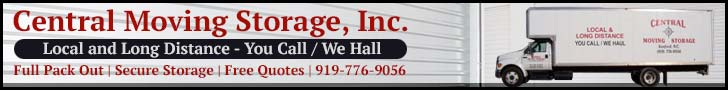 Banner ad for Central Moving Storage. Offering moving and storage services in and around Sanford, NC. They also offer free quotes. Call them at (919) 776-9056
