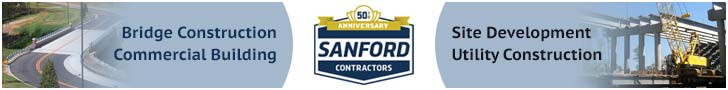 Banner ad for Sanford Contractors. Their constructions include bridges, commercial buildings, site development and utility construction..