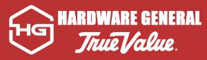 A red banner showcasing the logo and name for Hardware General