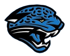 A blue jaguar bares its fangs. The logo for Overhills High School.