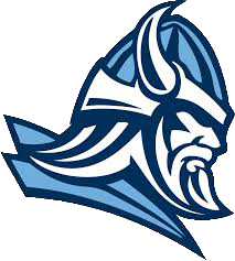 A Viking dressed in blue. The logo of South Granville High School