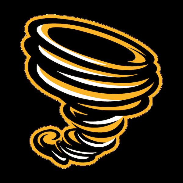 A twisting orange tornado. The logo for Fairmont High.