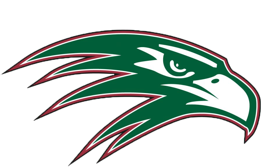 A green falcon outlined in burgundy and highlighted in white. The logo for Green Hope High.