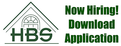 """Logo for Holmes Building Systems. An A-Frame pitched roof featuring a window and the letters H, B and S. Features job opportunities: """"Now Hiring! Download Application"""""""