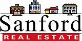 The logo for Sanford Real Estate. Features four different cartoon-stylized buildings sitting over the word Sanford. The word Sanford is sitting over a red banner that reads real estate.