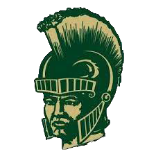 A trojan warrior wearing a helmet. Colored green and beige. Logo for South Johnston High.