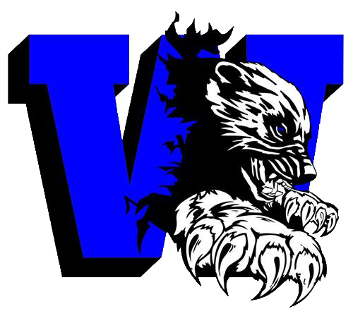 A black and white wolverine climbing through a large blue W. Logo for Westover High.